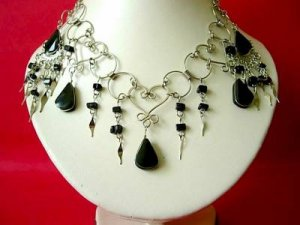 black onyx necklace and earring set