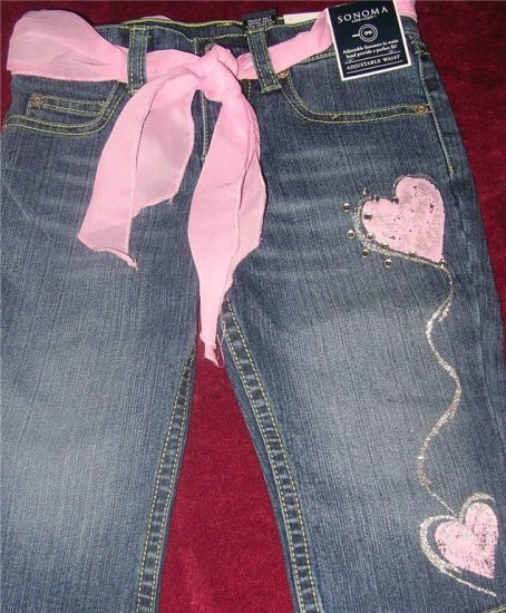 SONOMA Girls Denim Capris w Belt Sz 4 NWT FREE SHIPPING!!