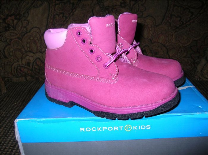 Rockport Girls Fushia Workboots Sz 1W NIB FREE SHIPPING!!!