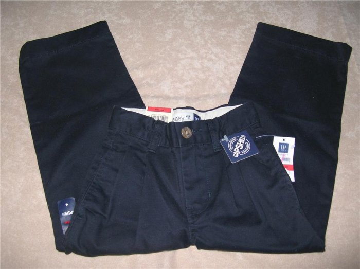 GAP KIDS Boys Twill Pleated Navy Pants 4R NWT FREE SHIPPING!!!