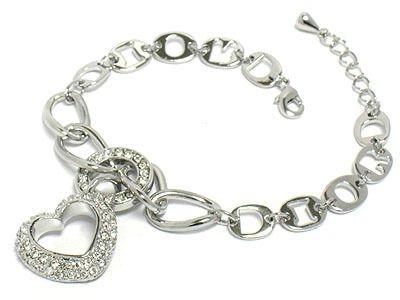 Christian Dior Crystal Heart Logo Chain Bracelet