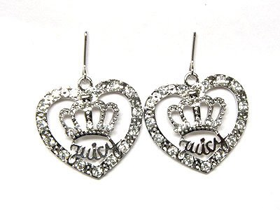 Juicy Couture crystal crown and heart earrings