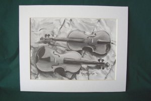 """Two Violins by Virginia Perry-Unger  - Ready to Frame Print : 8"""" x 10"""""""