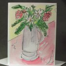 "4 Blank Greeting Cards Notecards- ""Vase of Flowers""- Watercolor Artwork"