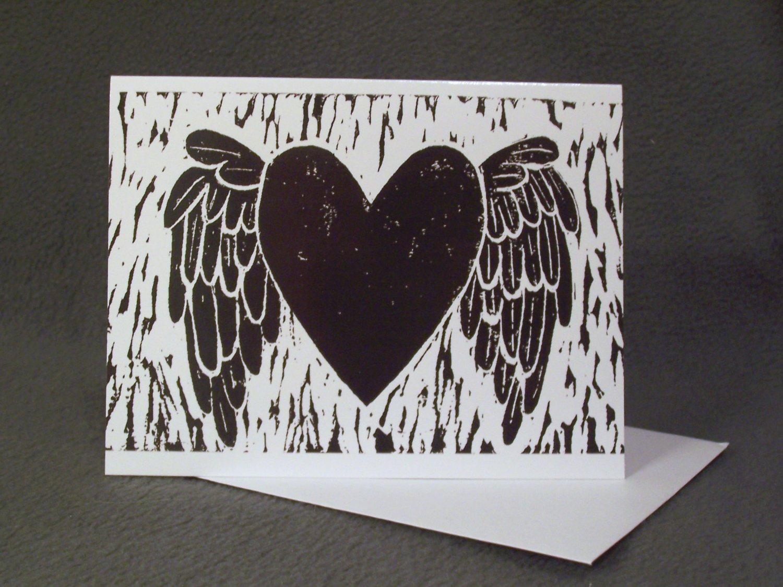 """4 Blank Greeting Cards Notecards- """"My Heart Has Wings""""- Linoleum Print Artwork"""