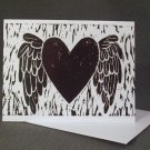 "4 Blank Greeting Cards Notecards- ""My Heart Has Wings""- Linoleum Print Artwork"