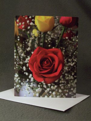 """4 Blank Greeting Cards Notecards- """"Roses""""- Photograph"""