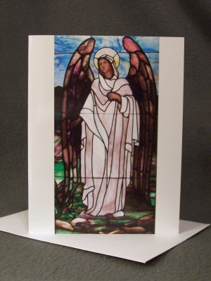 """4 Blank Greeting Cards Notecards- """"Stained Glass Angel""""- Photograph"""