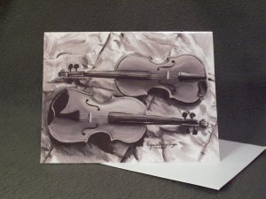 """Two Violins""- Acrylic Artwork- Greeting Card Notecard Blank"