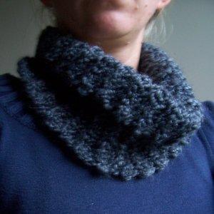 Grey Ribbed Cowl- Neckwarmer- Scarf- Handmade Crochet