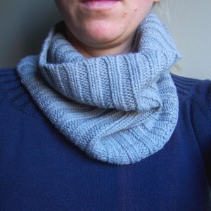 Grey Knit Cowl- Neckwarmer- Scarf