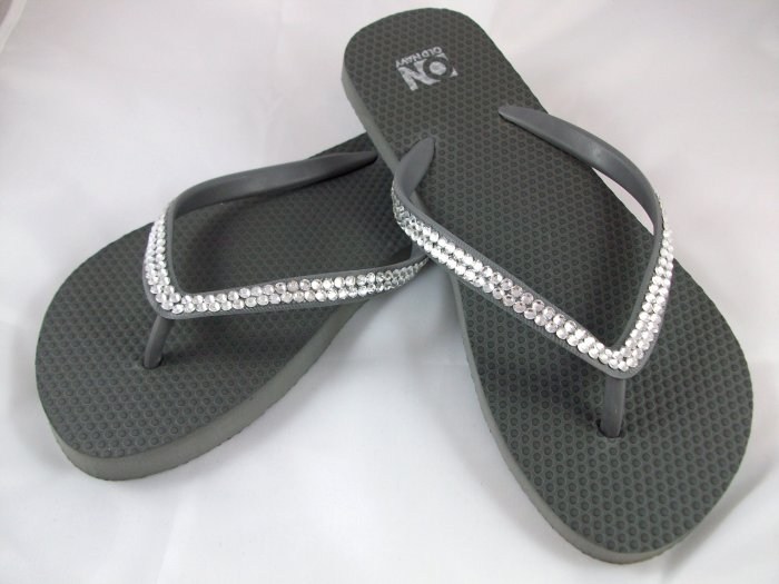Women's Dark Gray Flip Flops - Size 9