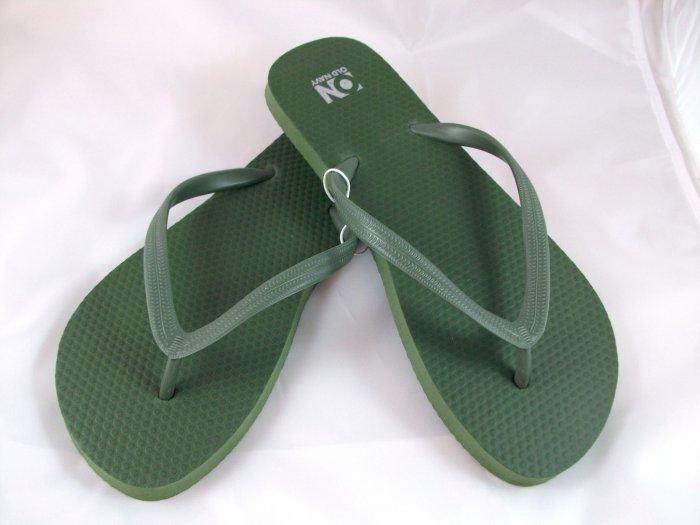 Women's Army Green Flip Flops - Size 10