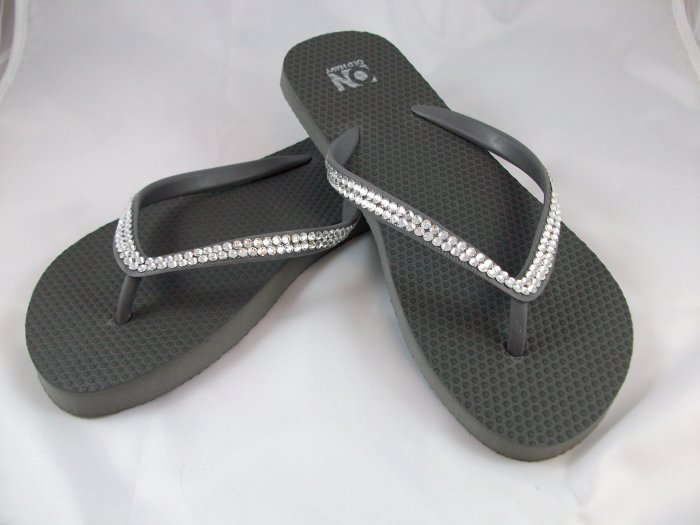 Women's Dark Gray Flip Flops - Size 7