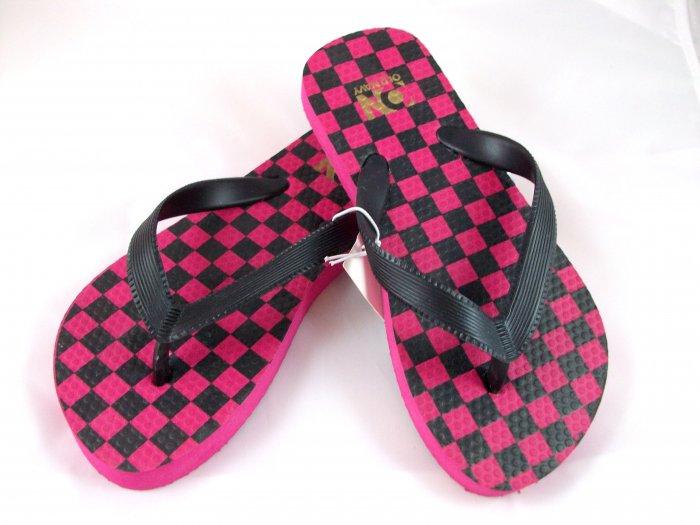 Girl's Black/Pink Checker Flip Flops - Size 12/13