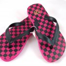 Girl's Black/Pink Checker Flip Flops - Size 12/13