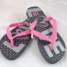 "Girl's Gray/Pink ""Love"" Flip Flops - Size 1/2"
