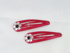 Red Barrettes with flowers