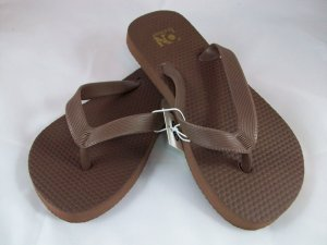 Girl's Brown Flip Flops - Size 1/2