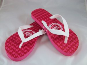Girl's White/Pink Houndstooth Flip Flops - Size 1/2