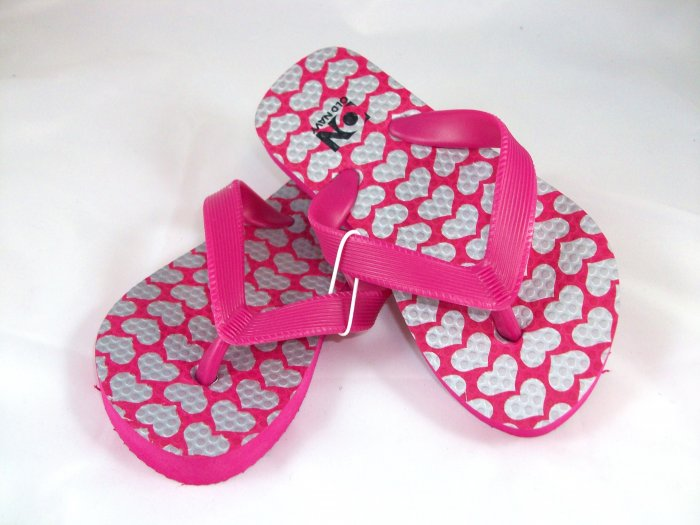 Girl's Pink/Silver Hearts Flip Flops - Size 8/9
