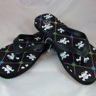 Girl's Black/Skulls Print Flip Flops - Size 1/2