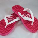 Girl's White/Pink Houndstooth Flip Flops - Size 10/11