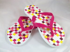 Girl's Pink/Multi Checked Flip Flops - Size 3/4