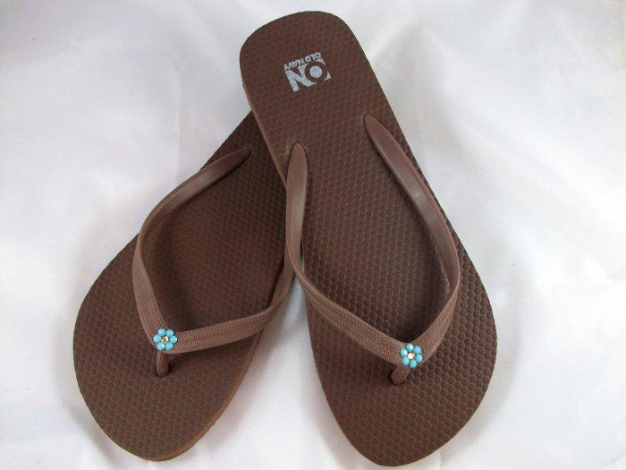 Women's Brown W/Turquoise Flower Flip Flops - Size 8
