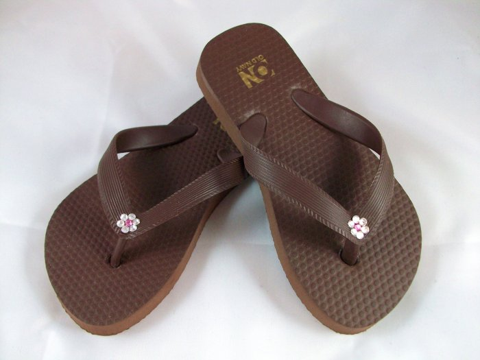 Girl's Brown Flip Flops with Flowers - Size 10/11