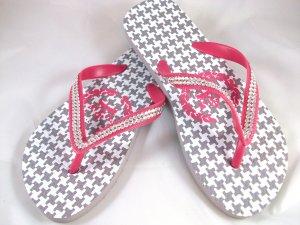 Girl's Pink/Gray Houndstooth Flip Flops - Size 3/4
