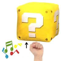 "Official Nintendo 8"" Mario Brothers Question Block Sound Plush Stuffed Toy"