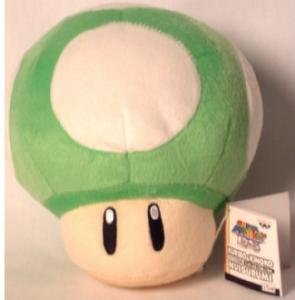 "Official Nintendo 6"" Mario Brothers Green 1UP Mushroom Plush by Banpresto"