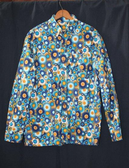 men's casual long-sleeve button-down shirt: sunbursts