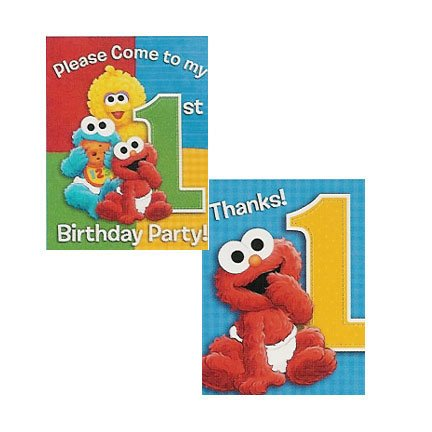 SESAME 1ST BDAY INVITE/THANK YOU COMBO