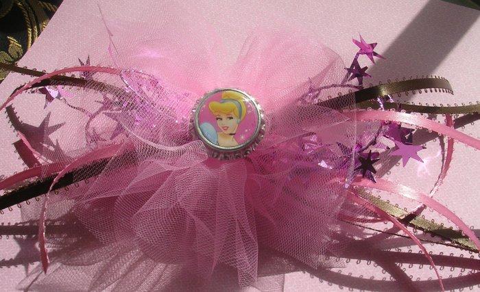 Girls Boutique Hair Bow Disney Cinderella Bottle Cap Pink Brown Tulle Dance Ballet Costume Dress Up
