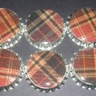 Set of 6 Red Plaid Bottle Caps For Back To School Bows,Scrapbooking