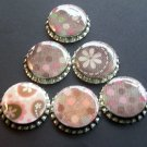 Set of 6 Retro Pink And Brown Prints Bottle Caps Great For Scrapbooking, Hair bows, Necklaces