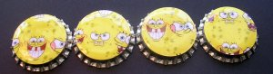 Set of 4 Sponge Bob Bottle Caps