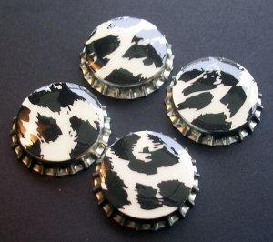 Set of 4 Animal Print Bottle Caps