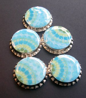 Set of 6 Retro Blues Prints Bottle Caps