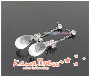 E0093 - KDrama Snow Queen - Seong Yu Ri Crystal Drop Earrings