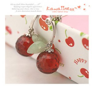 E0102 - Red Fruit Crystal Earrings