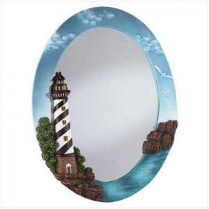 Light house oval wall mirror