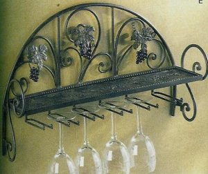 Grapevine Wall Shelf With Glass Rack