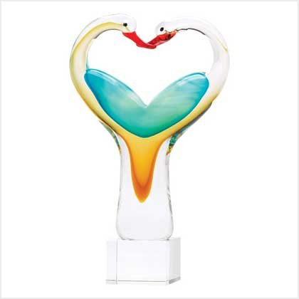 Love Birds Art Glass Sculpture