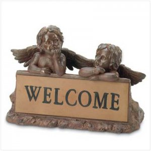 Garden Cherubs Welcome Sign