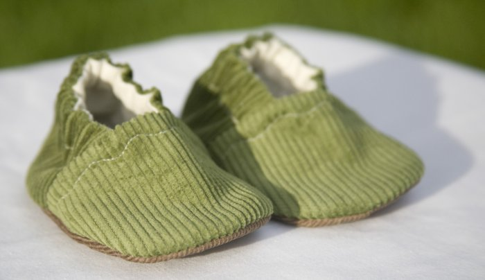 Green Corduroy Baby Booties with ORGANIC Linen Interiors