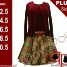 Bonnie Jean Girl PLUS Size 2-Pc RED-BURGUNDY GOLD PLAID Special Occasion Party Dress - 14.5