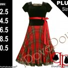 Bonnie Jean Girl PLUS Size BLACK RED GREEN PLAID PLEATED Special Occasion Party Dress - 18.5